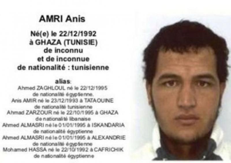 Доказателства потвърждават, че Анис Амри е извършител на атентата в Берлин