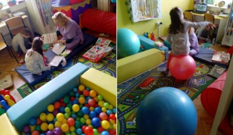 Занятие по сензорна терапия в РЦ-Бургас показа работа върху сетивата на дете със специални потребности